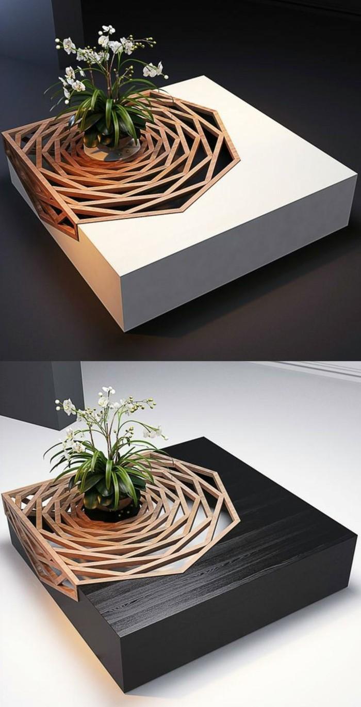 couchtisch-weiss-holz-viereckig-modern-futuristisches-design-tischdeko-pflanze