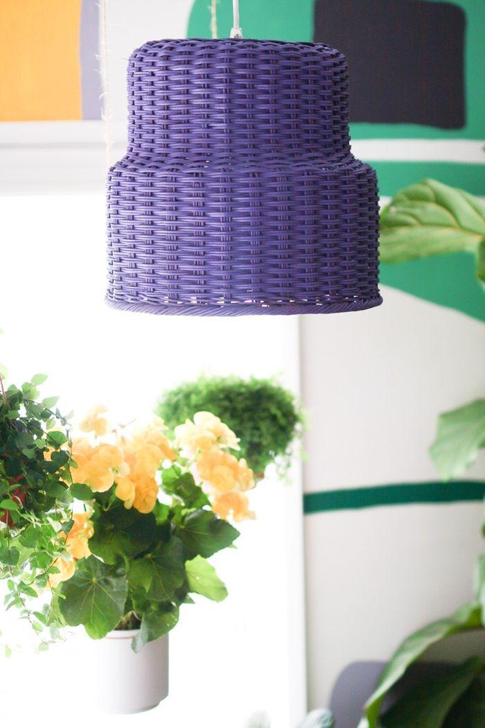 deckenlampe selber bauen aus ratenkörben einfache anleitung lamepschirm selbst machen ideen blaue lampe