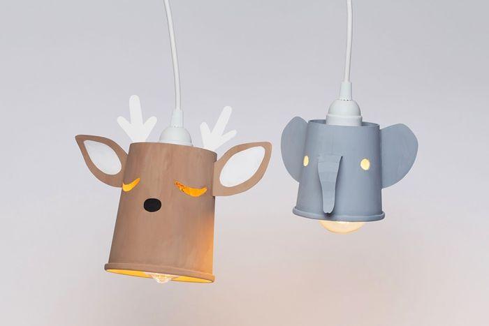 deckenlampe selber bauen diylampenschirme in den form von tieren hirsch elefant deckeleuchte