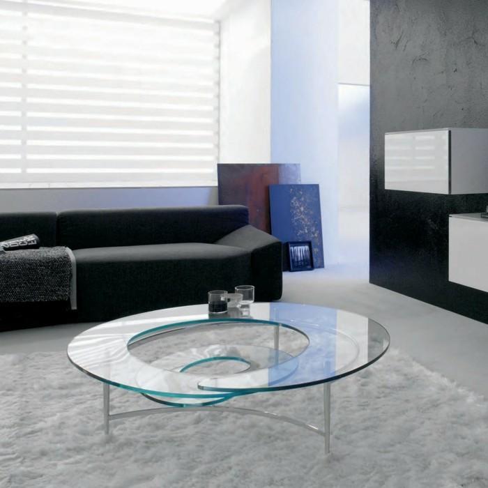 designer-couchtische-glas-spirale-form-weisser-plueschteppich-schwarze-couch-schwarze-wand