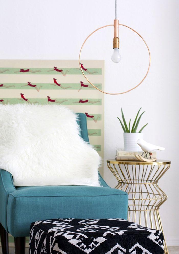 diy lampe aus messingröhren wohnung dekorieren selbstgemachte deko wohnzimmer gestaltung