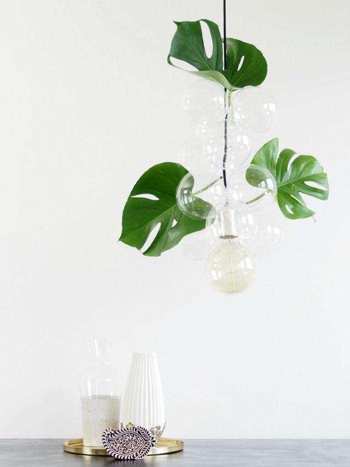 diy lampe schritt für schritt anleitungen und ideen deckelampe große grüne blätter jungle style