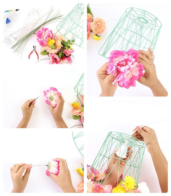 diy lampe schritt für schritt basteanleitung lampenschrim aus mülleimer und kunstblumen einfache anleitung