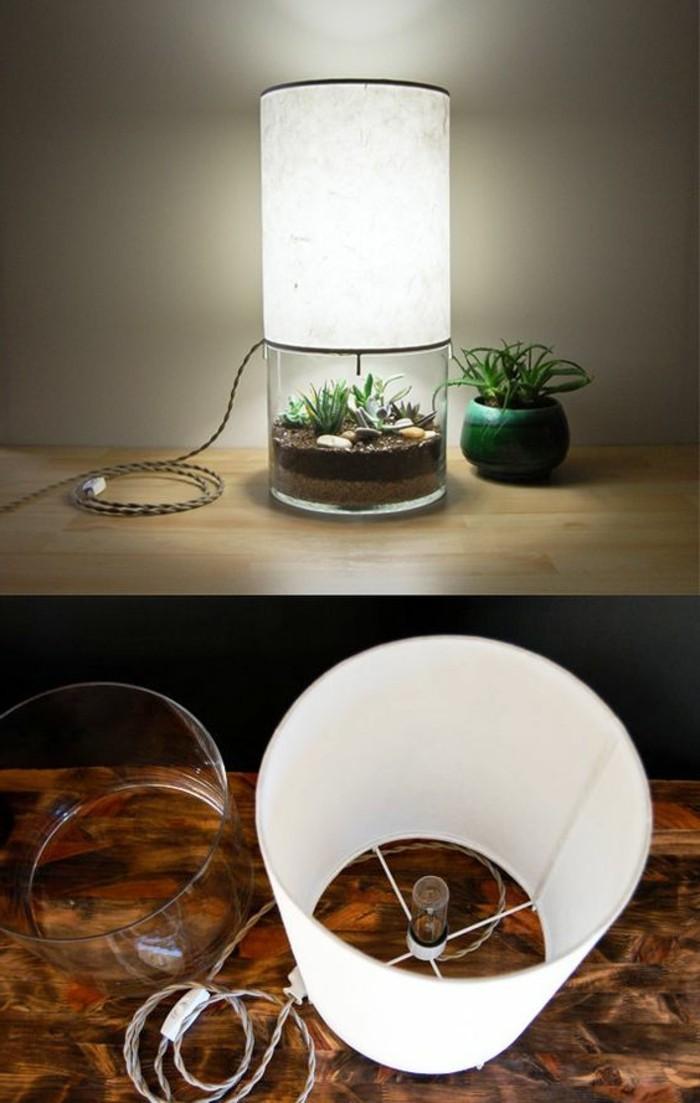 diy-lampe-weiser-lampenschirm-grunen-blumentopf-pflanzen