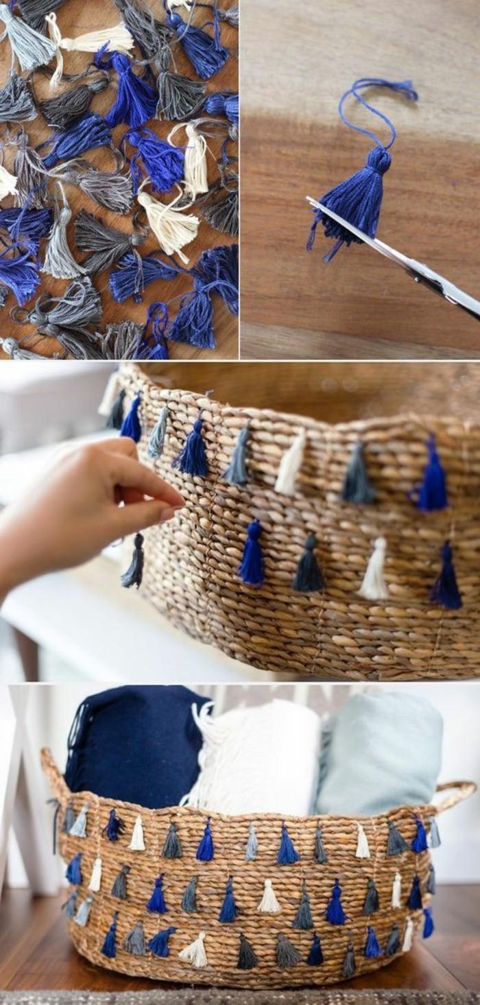 einfache-bastelideen-geflochtener-korb-mit-trodeln-dekorieren
