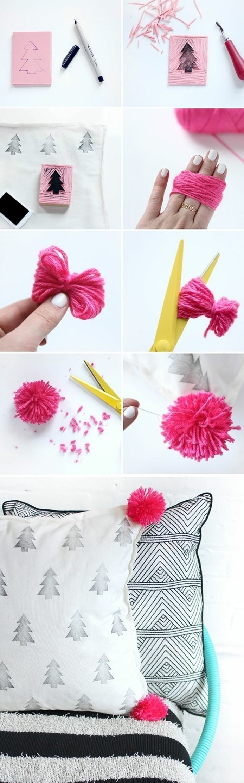 einfache-bastelideen-kissen-mit-rosa-trodeln-dekorieren