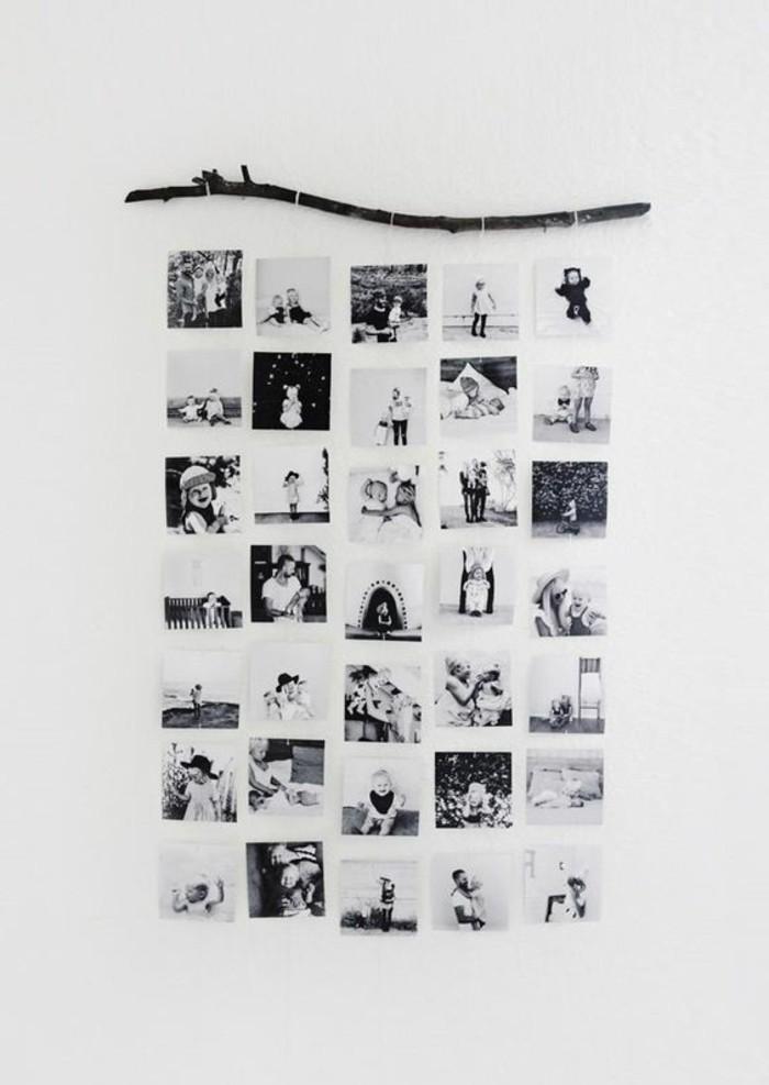 einfache-bastelideen-weisse-wand-mit-schwarz-weissen-fotos-dekorieren
