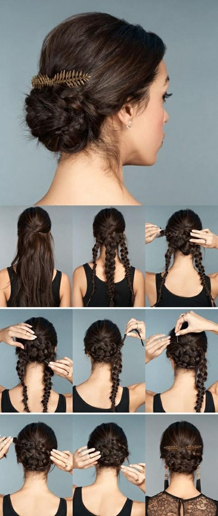 einfache-hocksteckfrisuren-dunkelbraune-haare-zopfe-selber-machen-accessoire