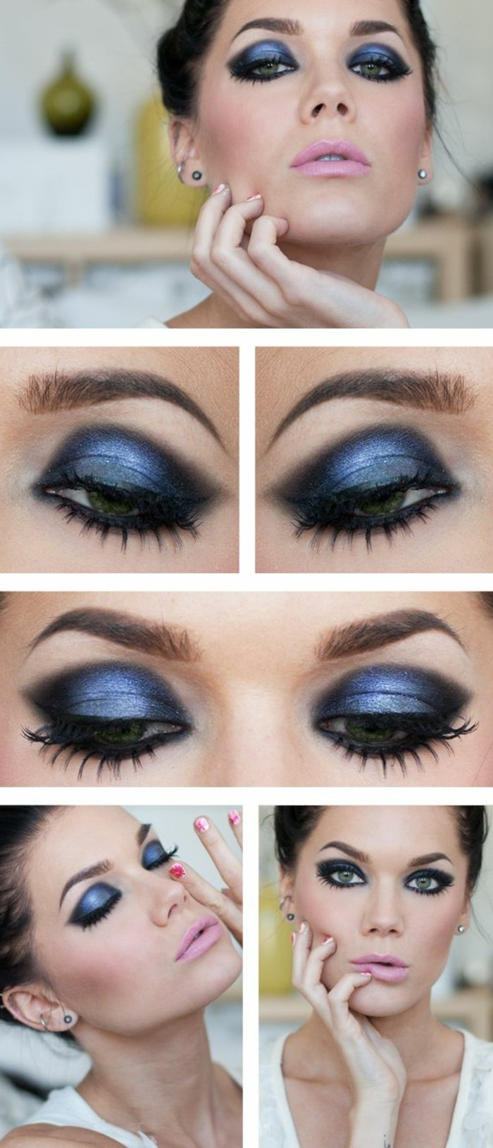 Make up grune augen blaues kleid