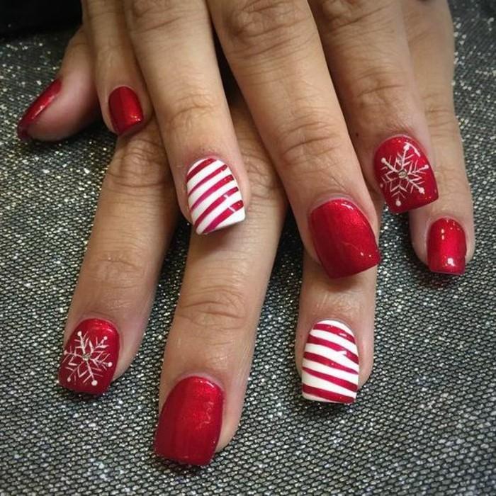 fingernageldesign-rot-und-weis-weihnachten-schneeflocke-arm