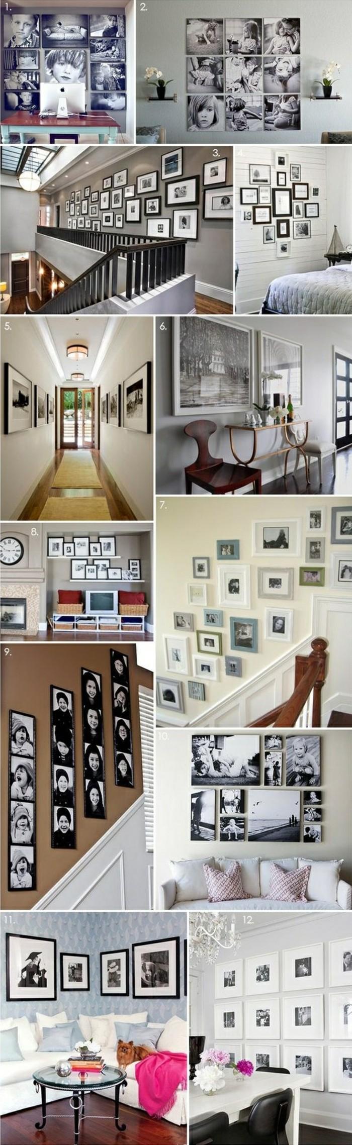 fotocollage-selber-machen-wanddeko-zimmer-sofa-tisch-treppe
