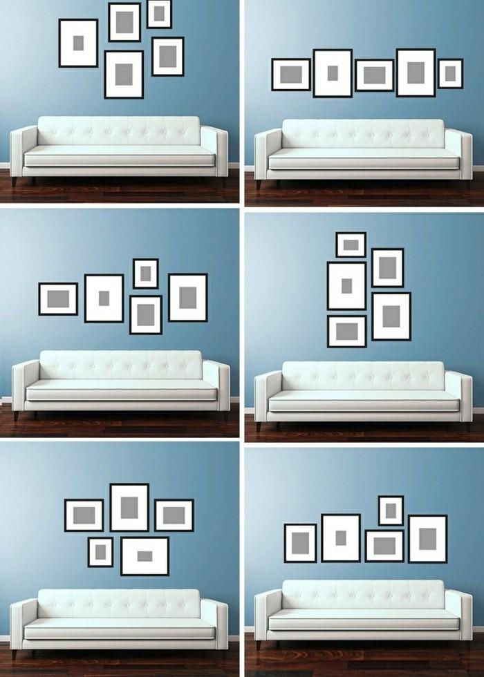 fotocollage-selber-machen-weiser-sofa-blaue-wand-boden-aus-holz