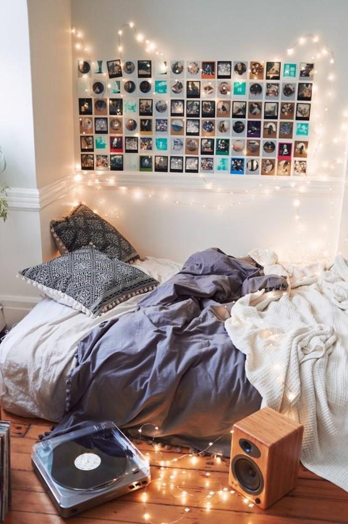 Fotowand Ideen Beleuchtung Bett Kissen Boden Aus Holz