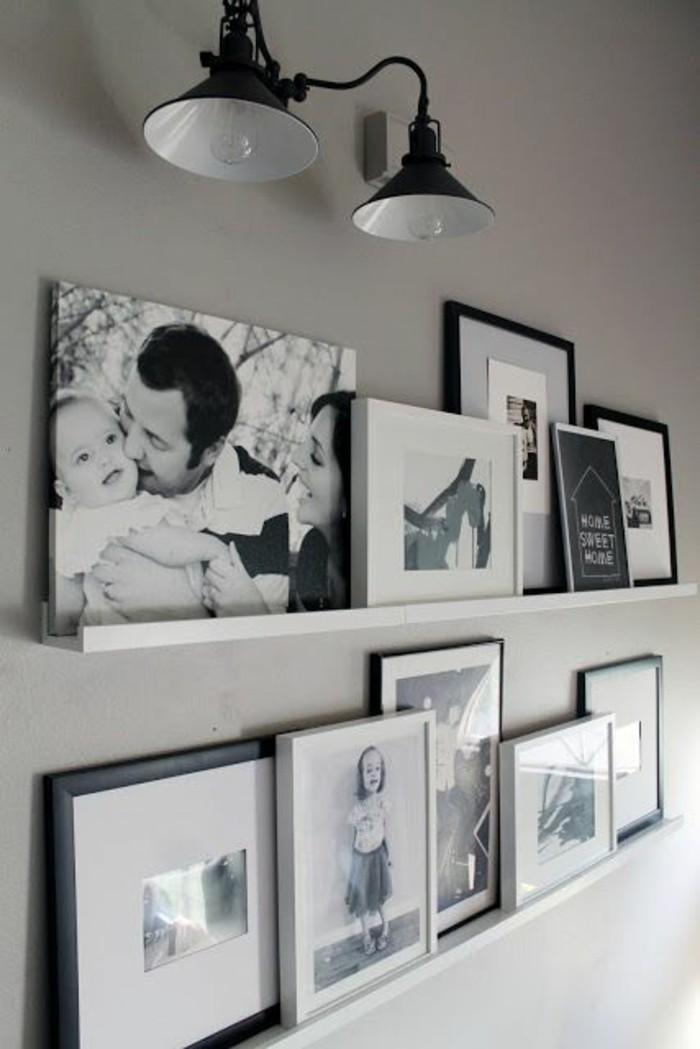 fotowand-ideen-schwarz-weise-familienfotos-weise-regale-lampen
