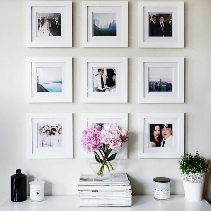 fotowand-selber-machen-fotos-mit-weisen-rahmen-rosen-pflanze-zeitschriften