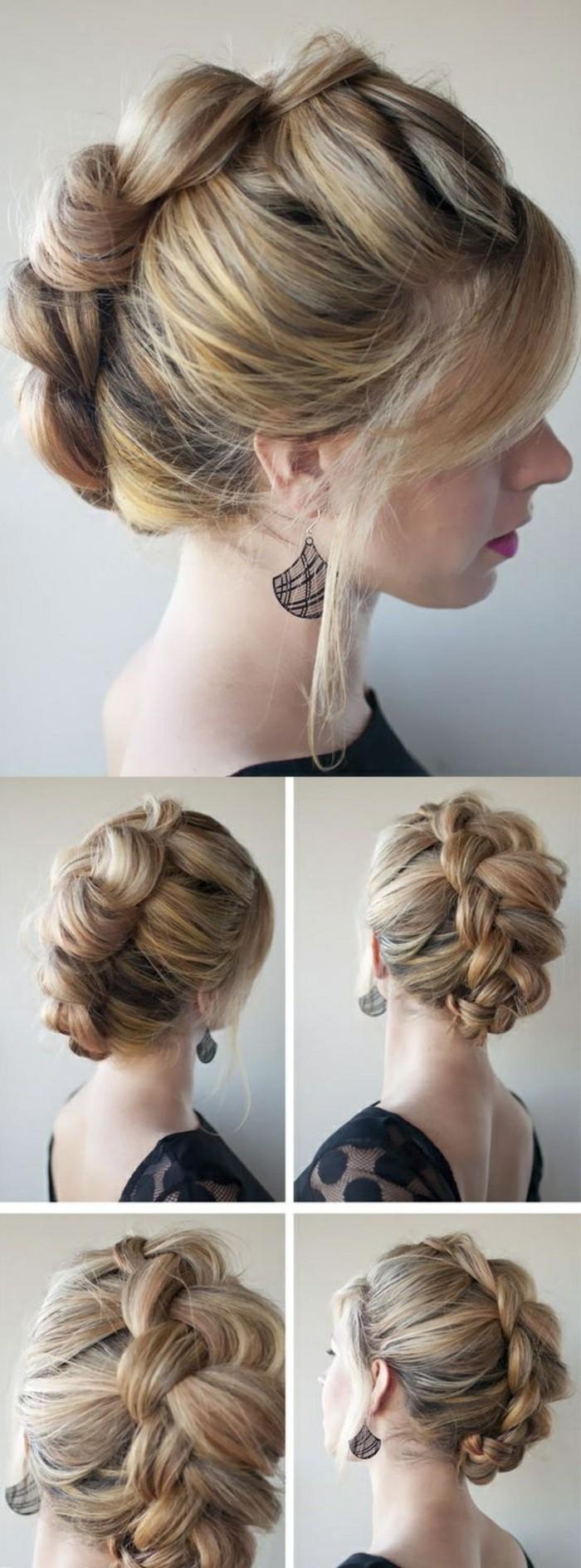 frisuren-damen-blonde-haare-zopf-schwarzer-kleid-schwarze-ohrringe-frau