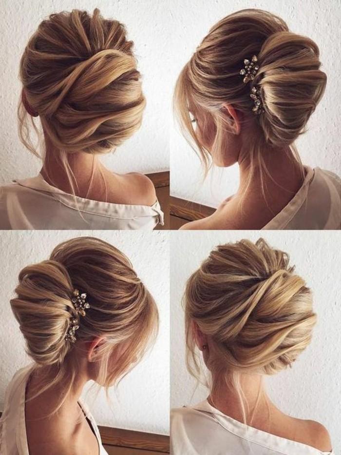 frisuren-damen-hochsteckfrisur-blonde-haare-weises-hemd-accessoire