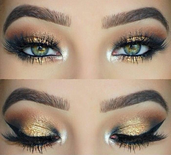 glamour-make-up-katzenaugen-makeup-golden-weiss-augenbrauen-smokey-party-schminke