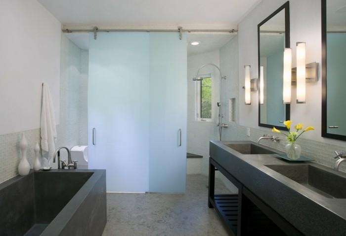 glasschiebetuer-zuhause-bad-gelbe-blumen-design