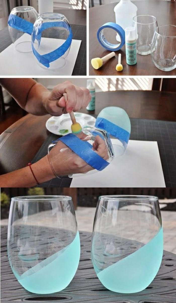 kreatives-basteln-glaeser-mit-blauer-farbe-verzieren