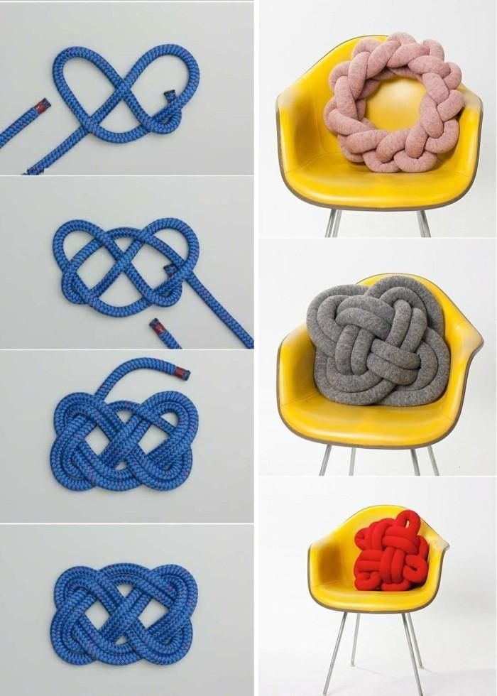kreatives-basteln-kissen-aus-bunten-seilen-binden-gelber-stuhl