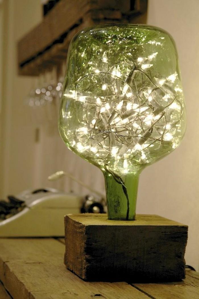 lampe-basteln-holz-beleuchtung-grune-flasche
