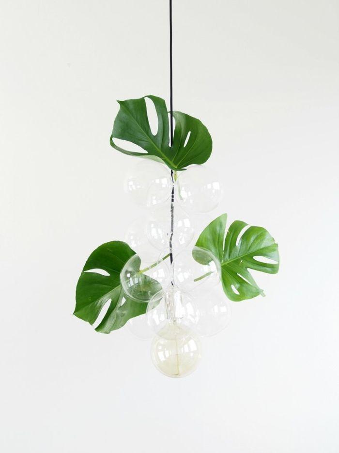 lampen selber machen diy bauanleutung große grüne blätter zimmerdeko ideen deko selbst basteln