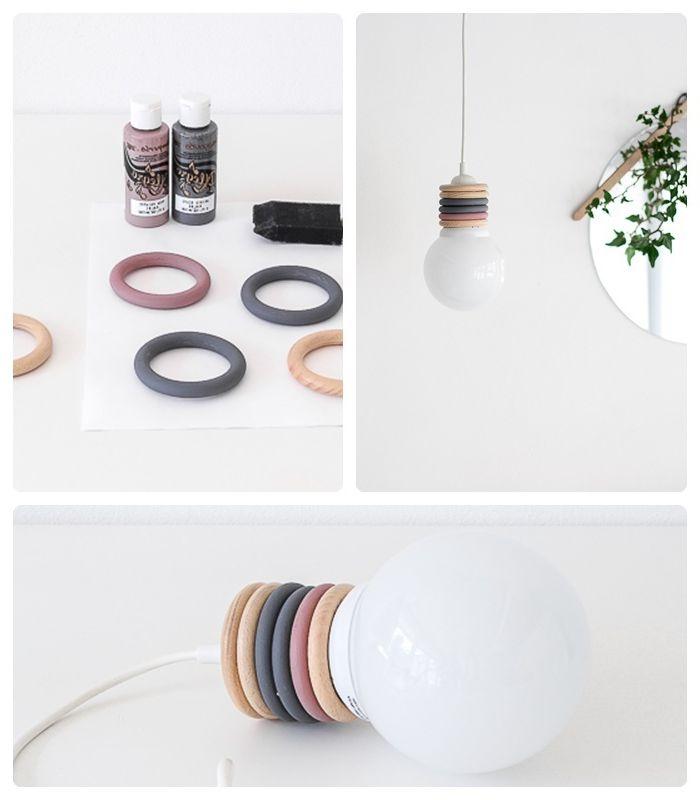 lampen selber machen hängelampe deckenlampe einfache bauanleitung archzine holzringe färben
