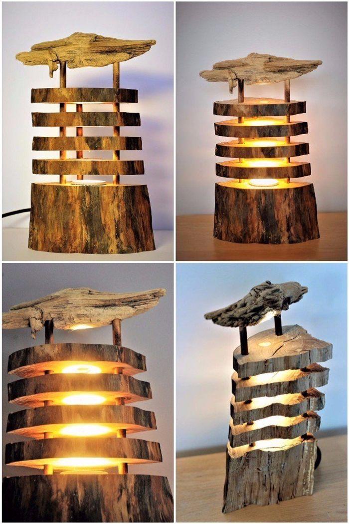 lampen selber machen stehampe aus holz holzbalke außergewöhnliche leuchten diy projekt lampe