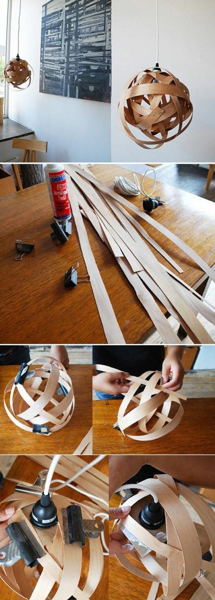lampenschirm-selber-machen-aus-holz-kleber-holzerner-tisch