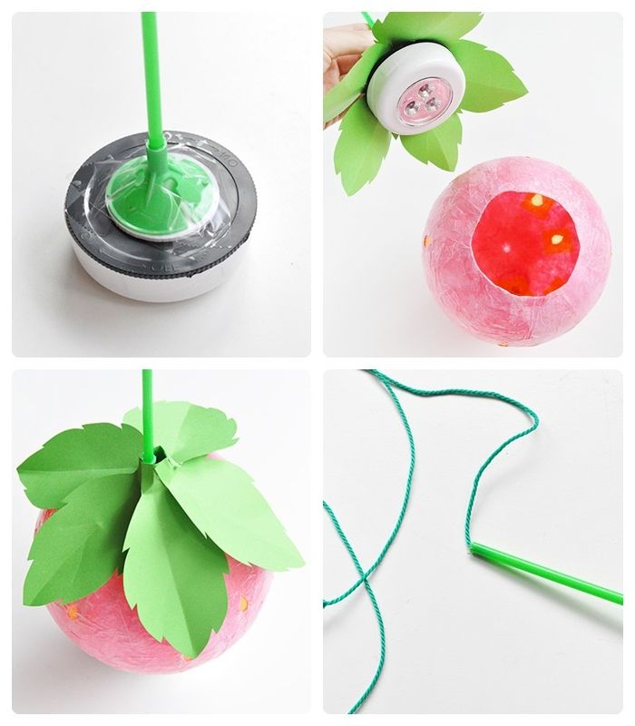 lampenschirm selber machen lampe erdbeere basteln pappmache blätter aus grünem papier