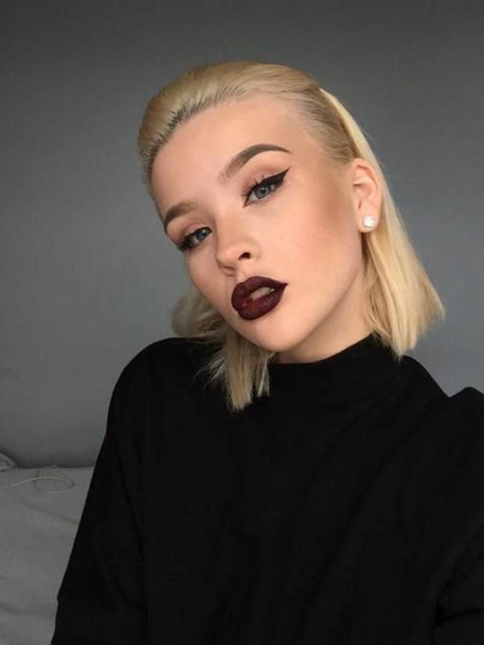 make-up-anleitung-drama-look-fur-helle-haut-blond-rot-dunkelrot-lippenstift-schwarzes-kleid
