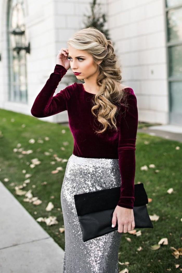 make-up-ideen-party-look-silber-rock-bordeaux-bluse-tasche-stilvoll-blondes-haar-zopf