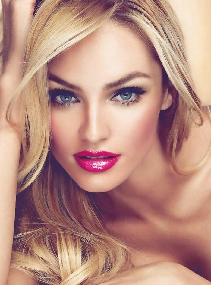make-up-tutorials-glamouroser-party-look-blonde-haare-zyklamfarbene-lippen-augen-lidstrich