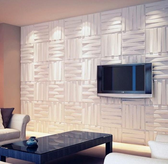 moderne-wandgestaltung-wohnzimmer-wandpaneel-fernseher-schwarzer-tisch-beleuchtung