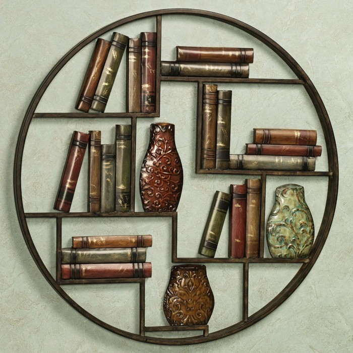 modernes-buecherregal-wie-einen-krei-mit-vasen-vintage-stil