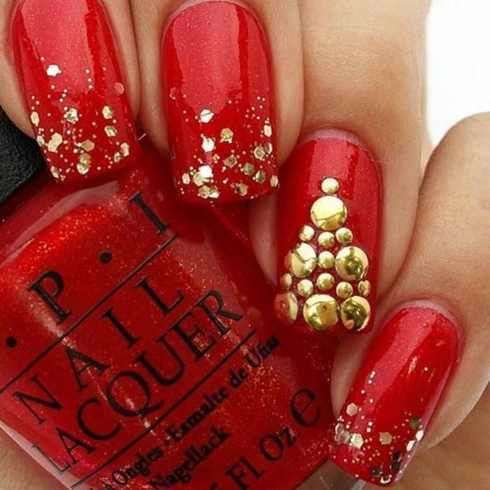nageldesign-winter-roter-nagellack-goldener-brokat-glitzer-weihnachtsbaum