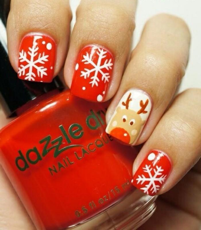 nageldesign-winter-roter-nagellack-weise-schneeflocken-hirsch