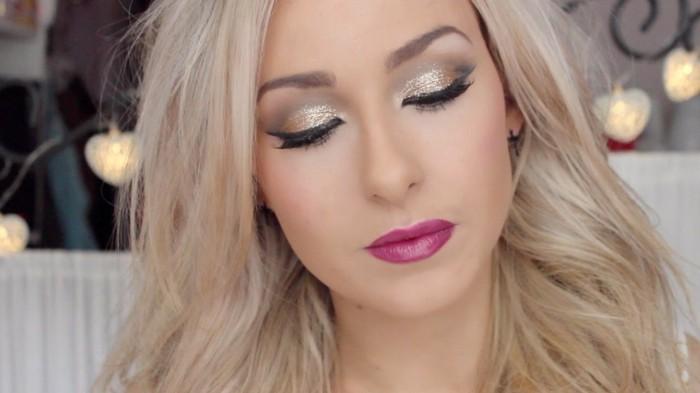 schminken-silvester-festlich-goldene-lidschatten-und-zyklame-lippen-blondes-haar-model