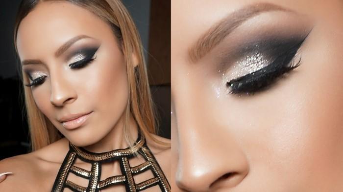 schminken-silvester-festlich-outfit-und-schminke-kombinieren-silber-schwarz-smokey-kleid