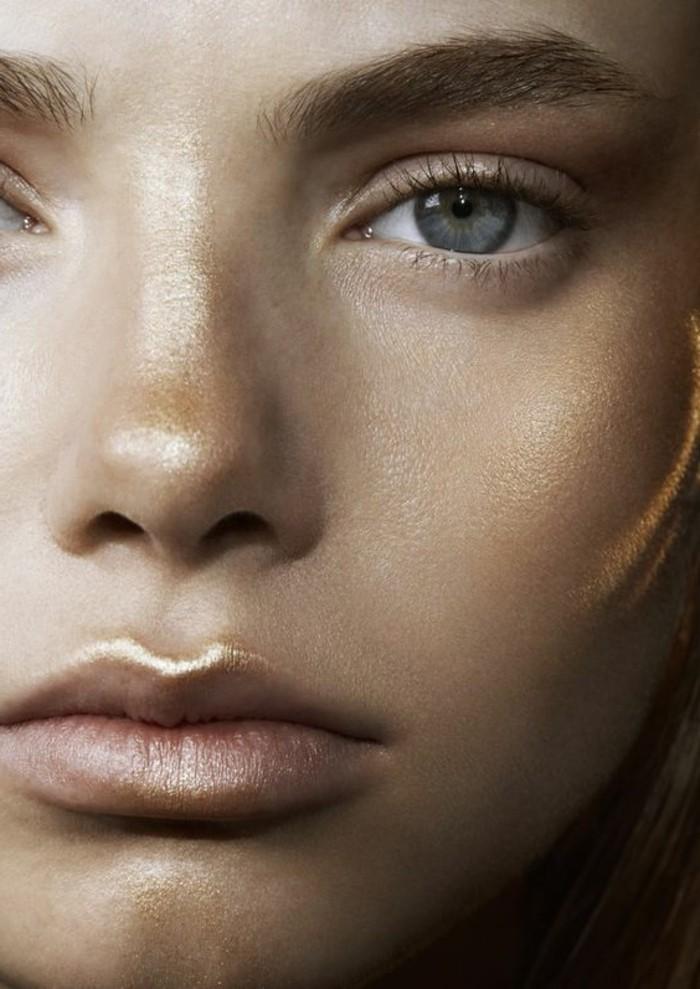 schminken-wie-die-stars-goldene-akzente-highlighter-lippen-nase-augen-blau-augenbrauen