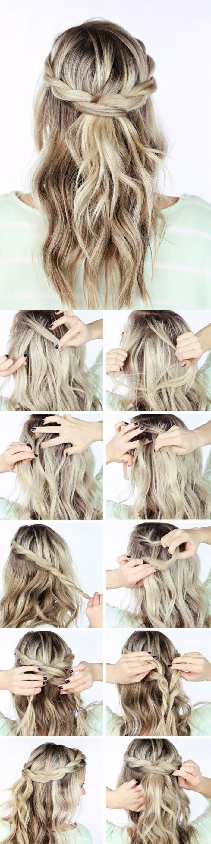 schnelle-frisuren-mitellange-frisuren-grune-bluse-blonde-lockige-haare-frisieren-selber-machen