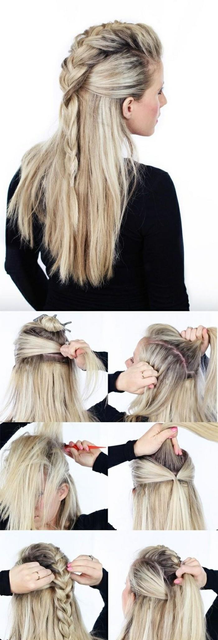 schnelle-frisuren-mittellange-blonde-glatte-haare-zopf-frisieren-haarfrisur-selber-machen