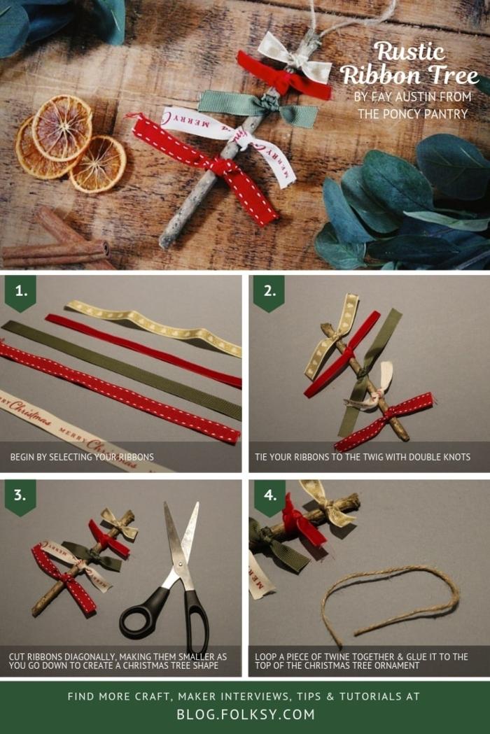 schritt für schritt anleitung diy weihnachtsdeko basteln mit kindern inspiration weihnachtsbaum aus holzzweig