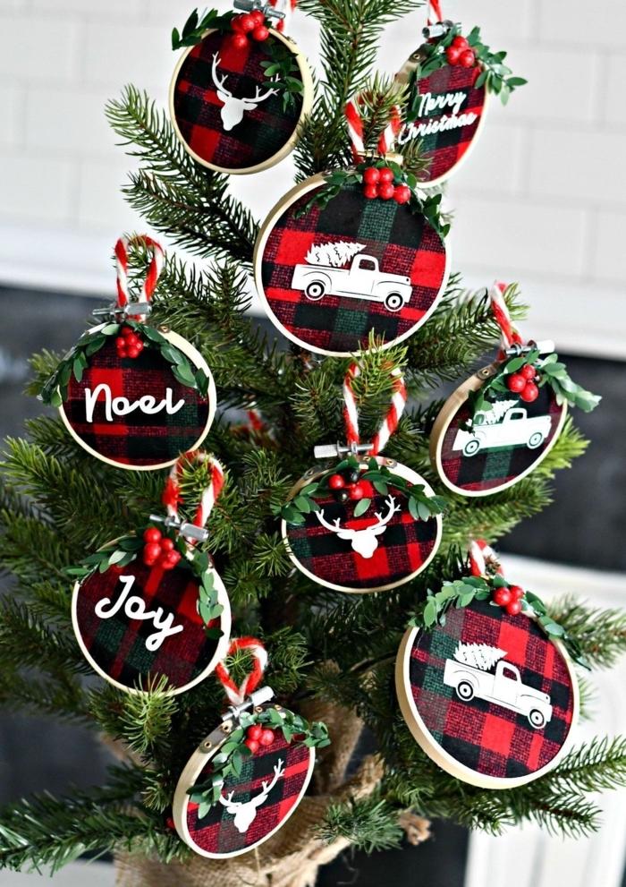 selbstgemachten ornamente weihnachten weihnachtsdeko basteln mit flanell kleiner tannenbaum diy ideen