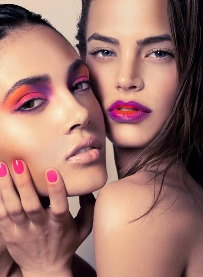 silvester-make-up-models-krasse-farben-lila-rot-orange-naegel-farbe