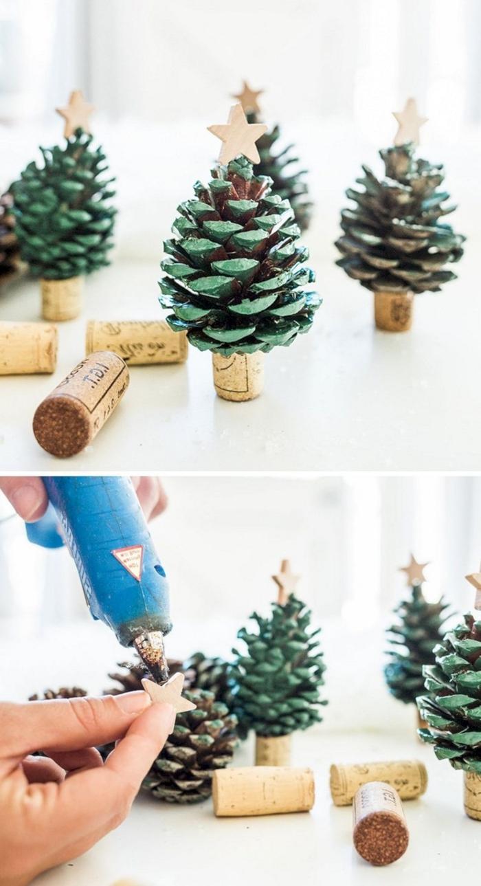 upcycling ideen bastelideen für weihnachten zum verschenken tannenbaum aus zapfen und korke anleitung weihnachtsbaum selber machen