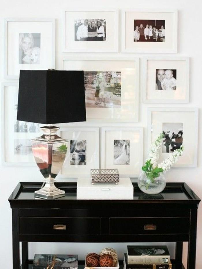 wand-deko-schwarzer-schrank-lampe-schwarzer-lampenschirm-familienfotos-fotowand