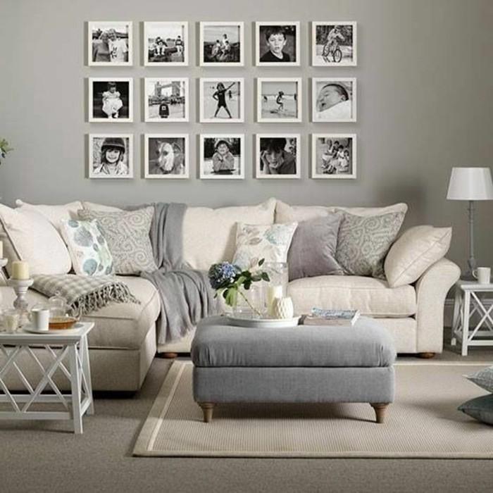 Wanddeko Ideen Familienfotos Fotowand Weise Rahmen Sofa Wohnzimmer