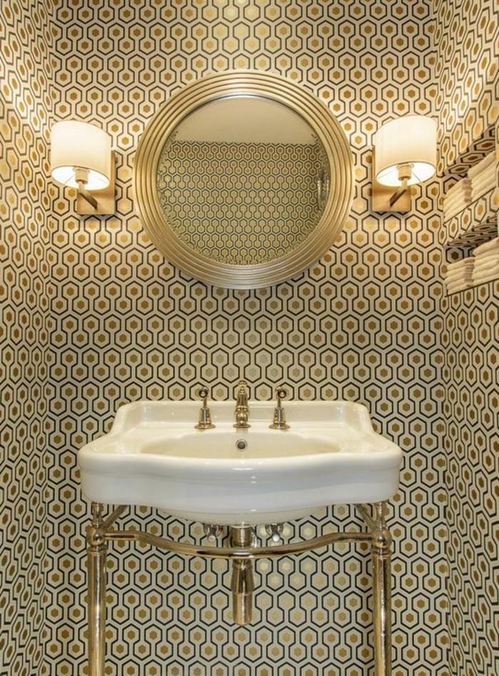 Wandgestaltung Ideen Badezimmer Weiser Waschbecken Runder Spiegel Lampen